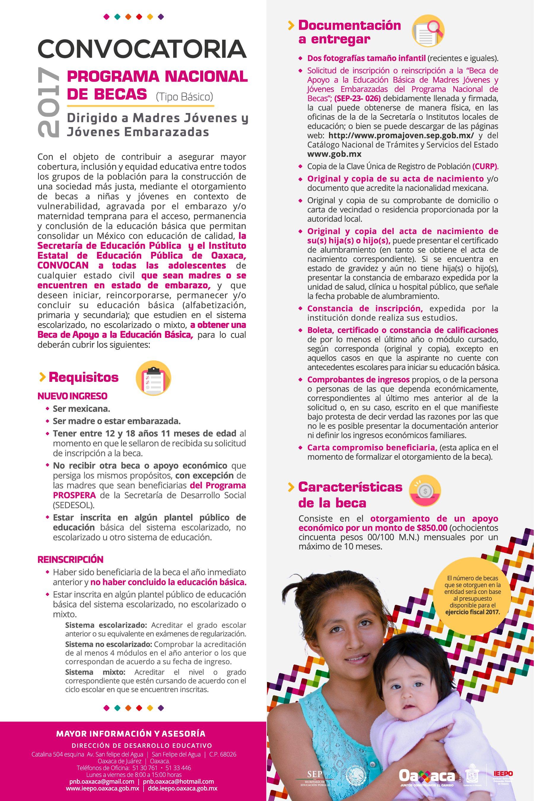 Convocatoria Programa Nacional de Becas (Tipo Básico). Dirigido a madres jóvenes y jóvenes embarazadas.